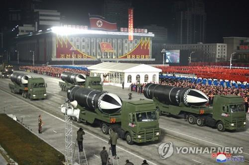 This file photo released by North Korea's Korean Central News Agency on Jan. 15, 2021, shows submarine-launched ballistic missiles displayed during a military parade held in Pyongyang the previous day. (For Use Only in the Republic of Korea. No Redistribution) (Yonhap)