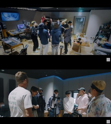 """These stills, provided by Big Hit Music, show BTS and Chris Martin in a documentary about their collaboration single """"My Universe."""" (PHOTO NOT FOR SALE) (Yonhap)"""