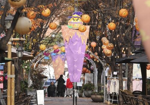 핼러윈이나 크리스마스 등 시기에 맞는 장식들로 거리가 장식되는 보정동 카페거리.(성연재)