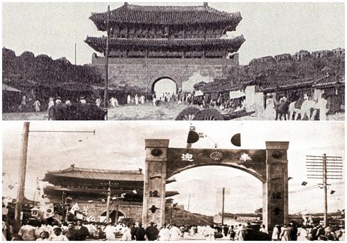 (서울=연합뉴스) 숭례문 좌우 성벽 원형이 보존된 1904년 모습(위)과 일제에 의해 성벽이 허물어진 1907년 모습(아래).