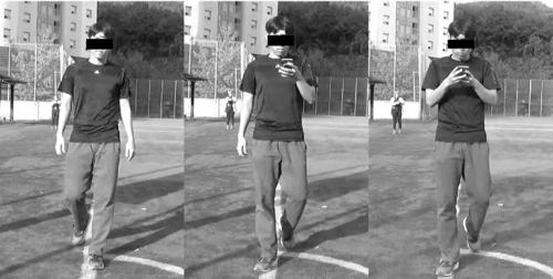 스마트폰 없이 걸을 때(좌), 한손으로 웹브라우징을 하며 걸을 때(중), 문자를 하며 걸을 때(우)의 목 기울기 모습. [논문 발췌]