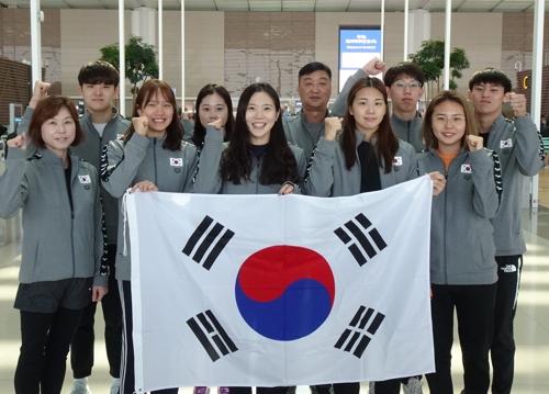 러시아 카잔으로 전지훈련을 떠나는 한국 경영국가대표 선수단.