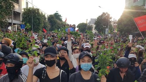 집회 참석자들이 꽃을 들고 저항의 상징 '세 손가락 경례'를 하고 있다. 2020.10.14