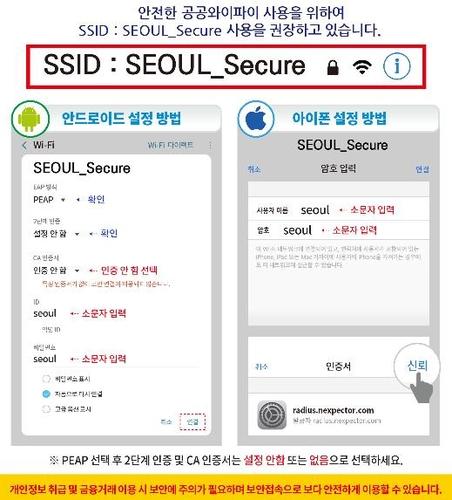 서울시 '까치온' 보안접속 요령