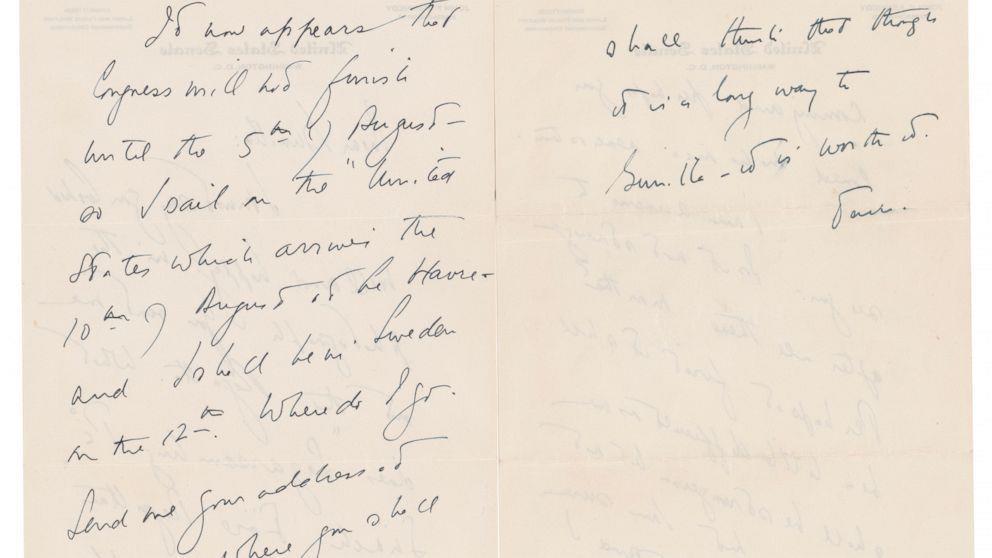 케네디 전 미국 대통령이 스웨덴 여성에게 보냈던 편지.