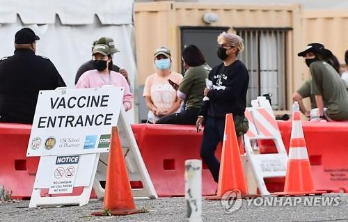 로스앤젤레스의 코로나 백신 접종송서 차례를 기다리는 사람들