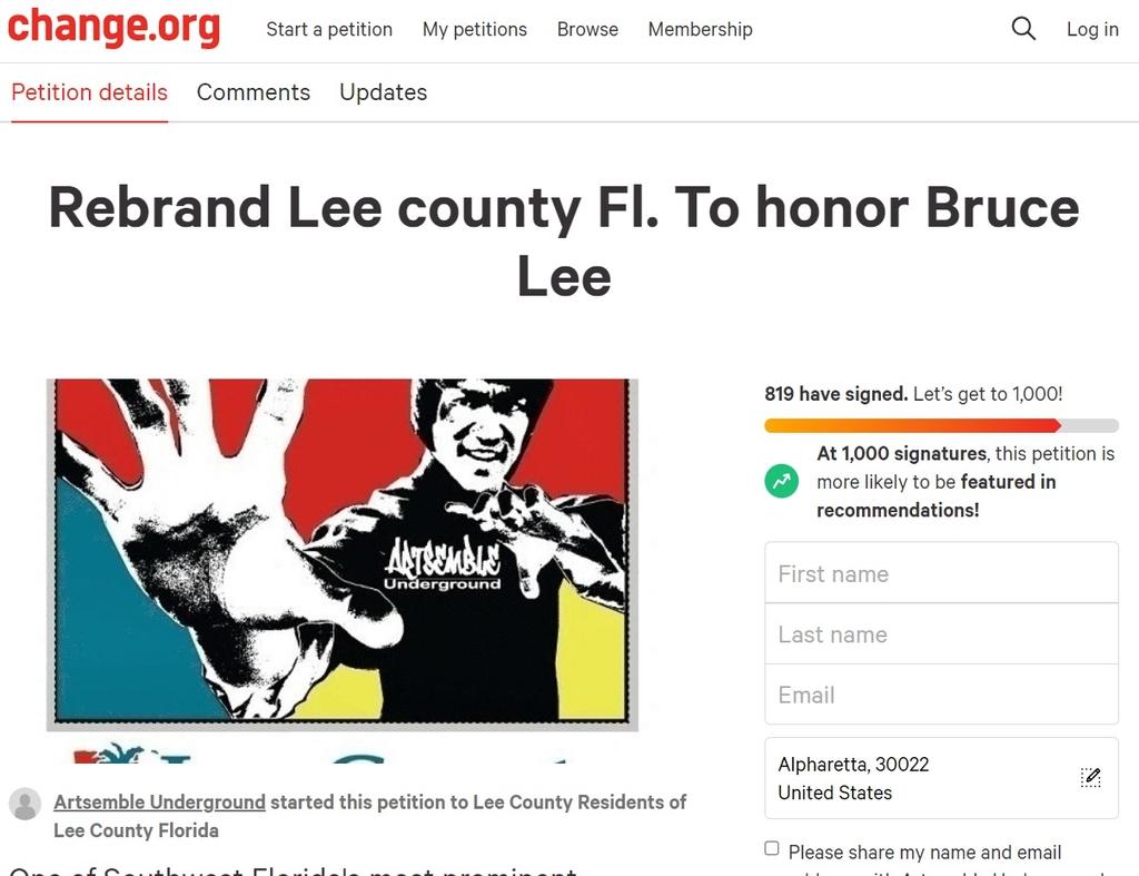 '브루스 리 카운티' 명명 운동 나선 미국 플로리다주 리 카운티 주민들