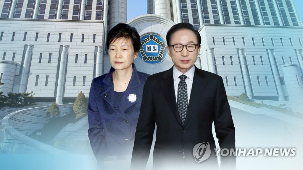 This composite file image produced by Yonhap News TV shows Park Geun-hye (L) and Lee Myung-bak, two former presidents currently in jail on corruption charges. (PHOTO NOT FOR SALE) (Yonhap)
