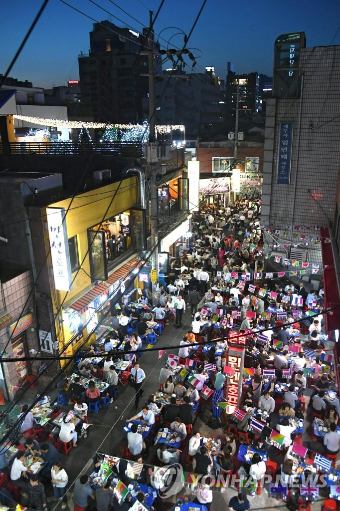 This file photo taken on June 20 by Seoul's Jung Ward Office shows an aerial view of Seoul's Euljiro Nogari Alley (Yonhap)
