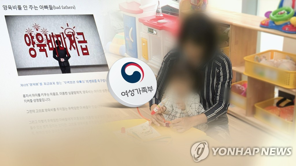 "This composite image shows a screenshot of the ""Bad Fathers"" website, the logo of the Ministry of Gender Equality and Family and a woman looking after a child. The photo of the woman and the child is a file photo not directly linked to the legal case. (Yonhap)"