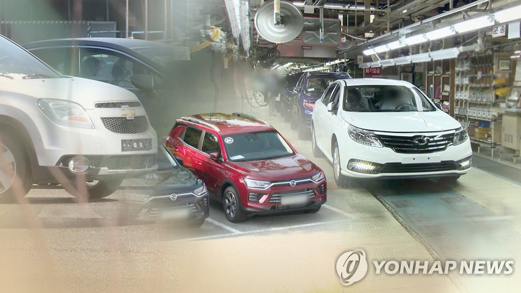 This Yonhap News TV composite image shows models from GM Korea (L), SsangYong Motor (C) and Renault Samsung. (Yonhap)