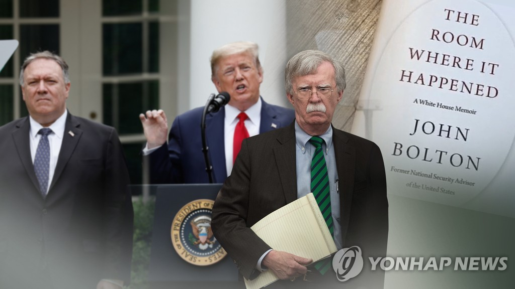 A combined image of former White House National Security Adviser John Bolton (R) and his controversial memoir, President Donald Trump (C) and Secretary of State Mike Pompeo in a photo provided by Yonhap News TV (PHOTO NOT FOR SALE) (Yonhap)