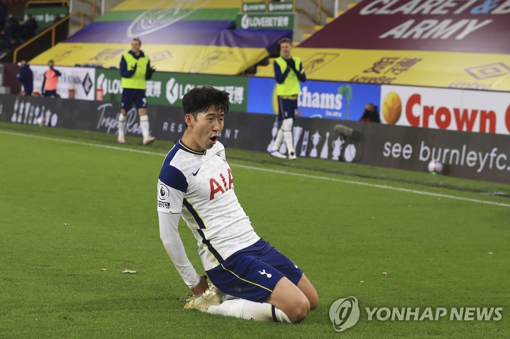 In this EPA photo, Song Heung-min of Tottenham Hotspur celebrates after scoring a goal during the Premier League match against Burnley at Turf Moor in Burnley, Britain, on Oct. 26, 2020. (Yonhap)