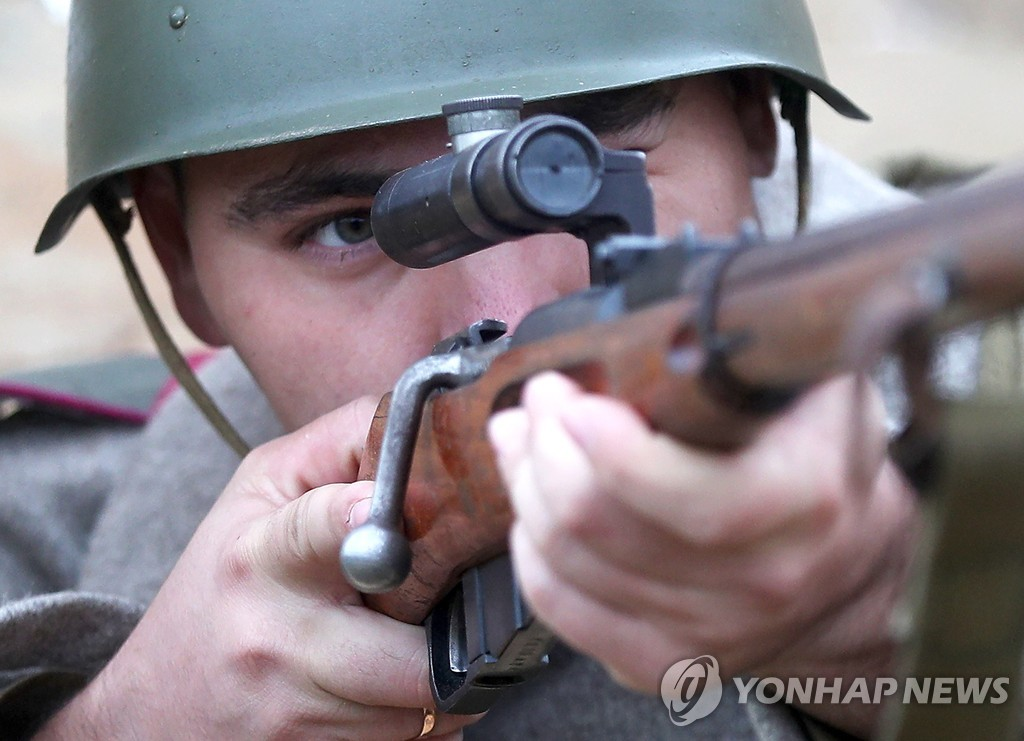 Historical reenactment of WWII battle in Tatarstan, Russia