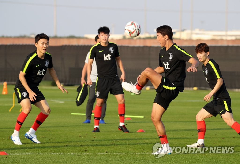 This file photo taken on Dec. 30, 2018, shows South Korea national football team midfielder Jung Woo-young (2nd from R) controlling the ball during training in Abu Dhabi, the United Arab Emirates. (Yonhap)