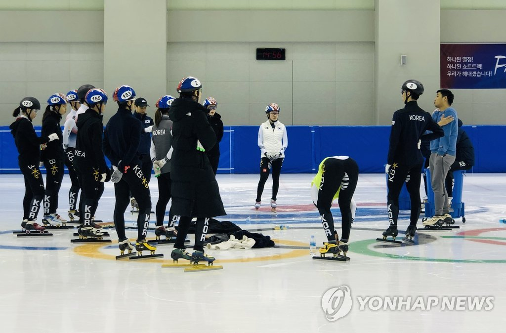 This file photo provided by the Korea Skating Union on Jan. 10, 2018, shows South Korean short track speed skaters during training at the Jincheon National Training Center in Jincheon, 90 kilometers south of Seoul. (PHOTO NOT FOR SALE) (Yonhap)