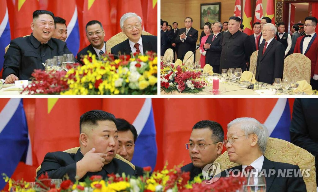 North Korea's daily Rodong Sinmun carries photos of leader Kim Jong-un joining a banquet with Vietnamese President Nguyen Phu Trong in Hanoi on March 1, 2019. (For Use Only in the Republic of Korea. No Redistribution) (Yonhap)