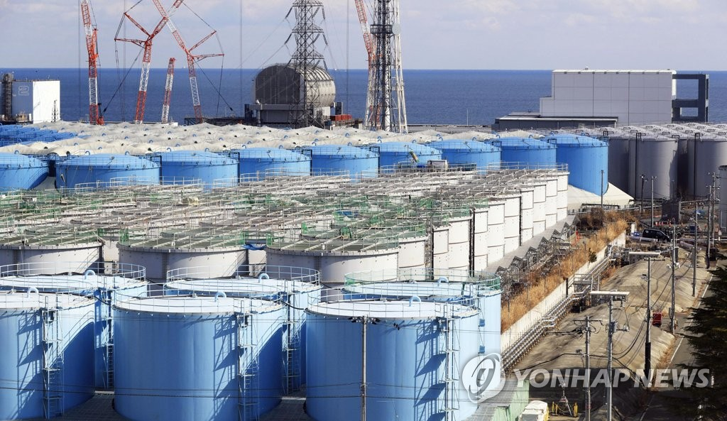 This photo, provided by Kyodo news agency on March 8, 2019, shows the storage tanks keeping radioactive water from the Fukushima meltdown, in Fukushima, Japan. (PHOTO NOT FOR SALE) (Yonhap)