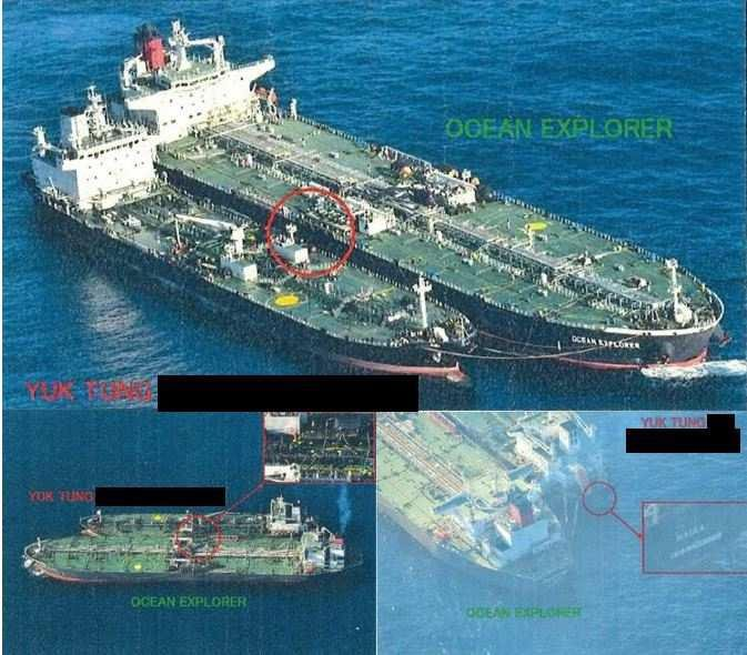 This photo from Oct. 28, 2018, published in the March 2019 report by the U.N. Security Council committee on North Korea sanctions shows an illegal transfer on the high seas between a foreign vessel and the North Korean tanker Yuk Tung. The report said North Korea's weapons programs, including nuclear arms and ballistic missiles, have remained intact, with the country finding new means to evade sanctions, including such ship-to-ship transfers of sanctioned material. (Yonhap)