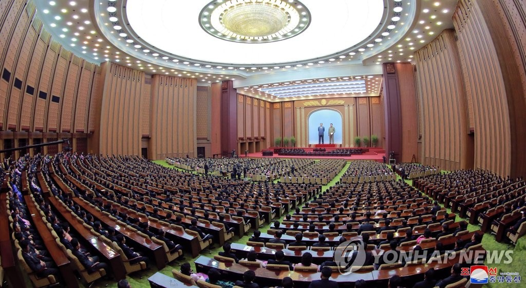 The first session of the 14th Supreme People's Assembly, North Korea's parliament, takes place in Pyongyang on April 11, 2019, in this photo released by the Korean Central News Agency the next day. North Korean leader Kim Jong-un was reelected as chairman of the country's top decision-making body, the State Affairs Commission, at the meeting. (For Use Only in the Republic of Korea. No Redistribution) (Yonhap)