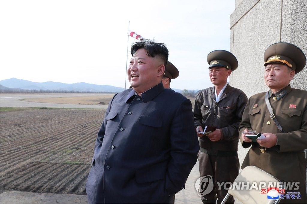 North Korean leader Kim Jong-un inspects a flight drill of the North's Air and Anti-aircraft Force on April 17, 2019, in this photo released by the Korean Central News Agency on April 18. As is customary, the agency didn't provide the location. (For Use Only in the Republic of Korea. No Redistribution) (Yonhap)