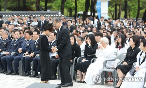 (2nd LD) Moon urges end to ideological rift over 1980 Gwangju pro-democracy uprising