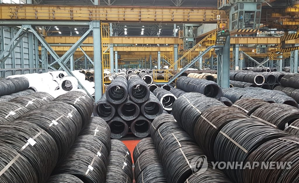 This photo taken on June 30, 2019, shows steel wire products at POSCO's integrated steel mill in Pohang, some 370 kilometers south of Seoul. (Yonhap)