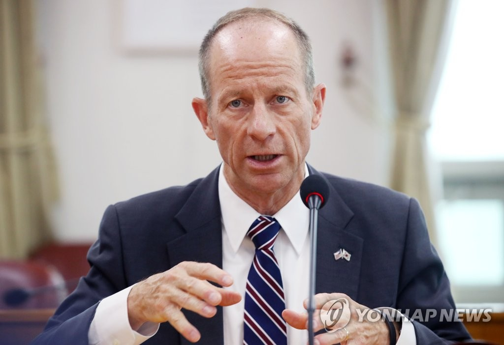 This photo shows U.S. Assistant Secretary of State for East Asian and Pacific Affairs David Stilwell speaking at a meeting at the Ministry of Foreign Affairs in Seoul on July 17, 2019. (Yonhap)