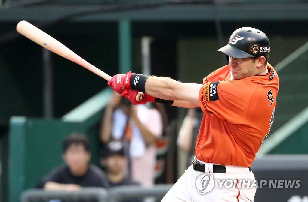 In this file photo from Aug. 4, 2019, Jared Hoying of the Hanwha Eagles hits an RBI single against the SK Wyverns in the bottom of the fifth inning of a Korea Baseball Organization regular season game at Hanwha Life Eagles Park in Daejeon, 160 kilometers south of Seoul. (Yonhap)