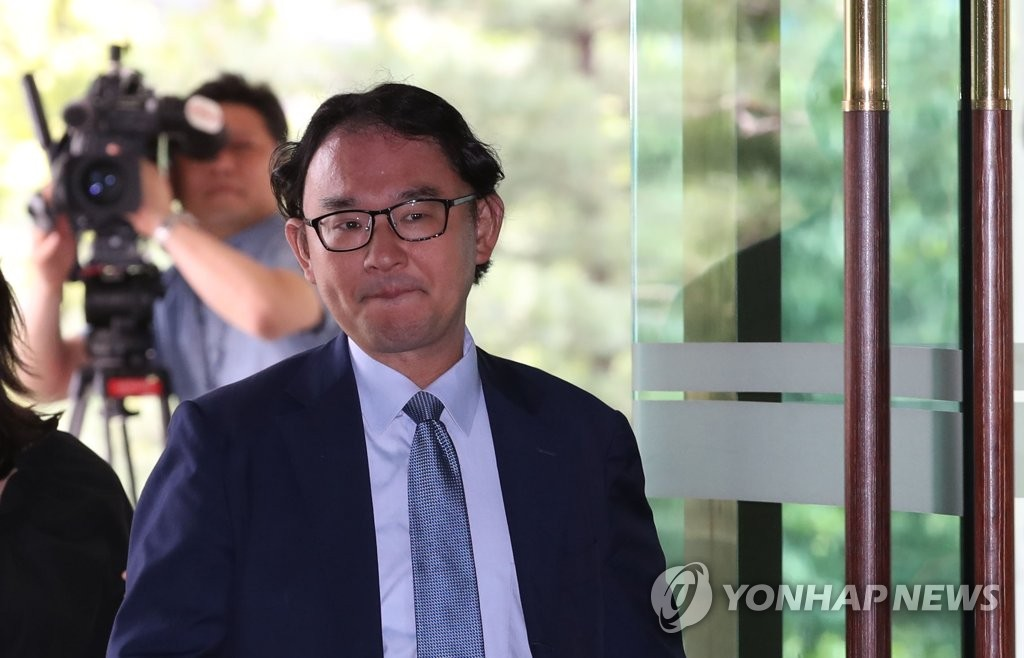 Tomofumi Nishinaga, a minister for economic affairs from the Japanese Embassy in Seoul, appears at the foreign ministry on Aug. 19, 2019. (Yonhap)