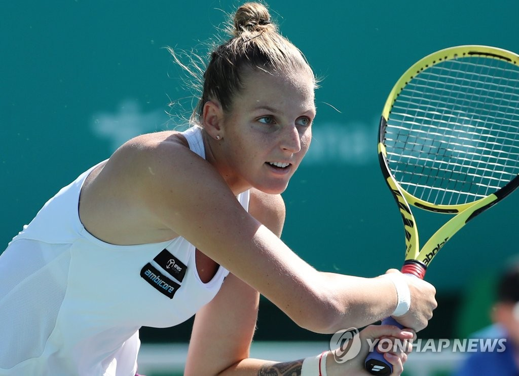 Kristyna Pliskova of the Czech Republic hits a shot against Choi Ji-hee of South Korea during their first round women's singles match at the Korea Open at Olympic Park Tennis Center in Seoul on Sept. 16, 2019. (Yonhap)