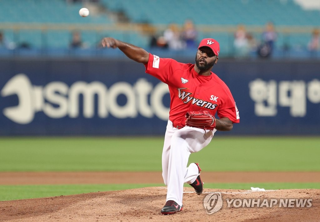 In this file photo from Sept. 27, 2019, Henry Sosa of the SK Wyverns throws a pitch against the Samsung Lions in the bottom of the first inning of a Korea Baseball Organization regular season game at Daegu Samsung Lions Park in Daegu, 300 kilometers southeast of Seoul. (Yonhap)