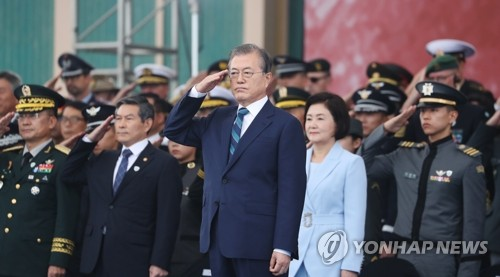 (LEAD) Moon says peace process buttressed by stronger military