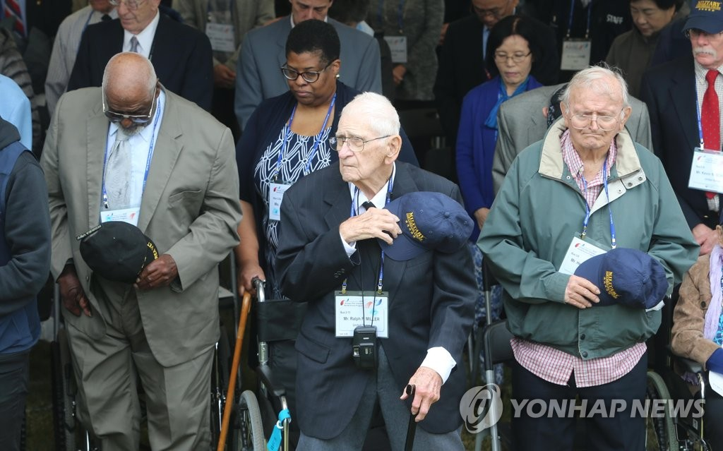 In this file photo, taken Oct. 24, 2019, foreign Korean War veterans attend a ceremony to mark the 74th U.N. Day at the U.N. Memorial Park in the southeastern port city of Busan. (Yonhap)