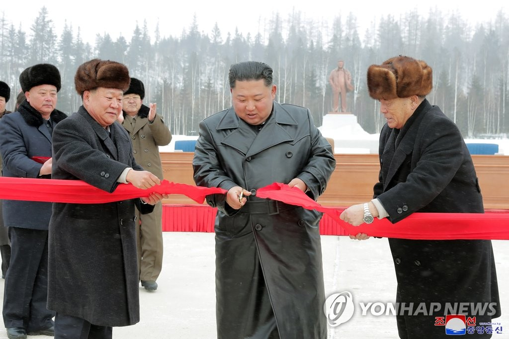 North Korean leader Kim Jong-un attends a ribbon-cutting ceremony for the completion of township construction in Samjiyon County in this photo released by the Korean Central News Agency on Dec. 3, 2019. (For Use Only in the Republic of Korea. No Redistribution) (Yonhap)