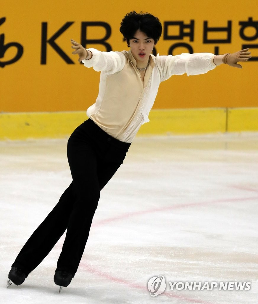 In this file photo from Dec. 15, 2019, Cha Jun-hwan of South Korea performs her free skating program during the first round of the national team trials at Gimhae Citizens Sports Center Ice Rink in Gimhae, 450 kilometers southeast of Seoul. (Yonhap)
