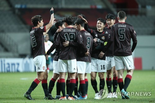 FC Seoul players celebrate win over Kedah FA