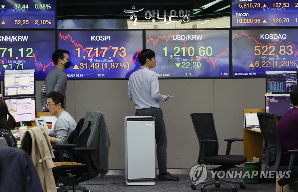 This photo, taken on March 27, 2020, shows a dealing room at Hana Bank in Seoul. (Yonhap)