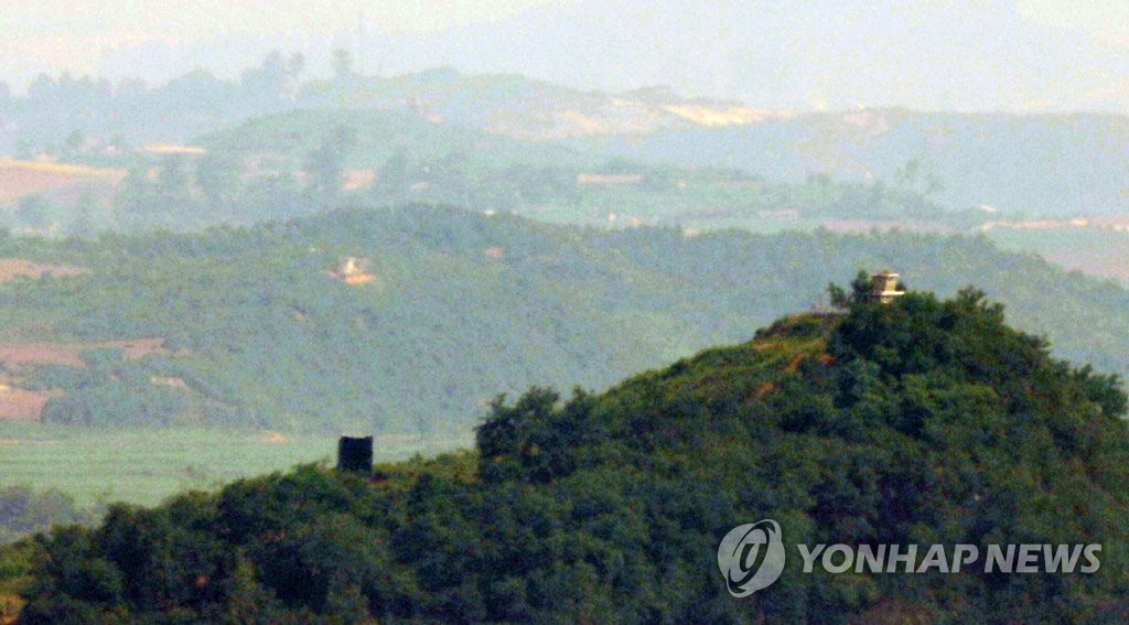 A propaganda loudspeaker is shown near a North Korean guard post inside the Demilitarized Zone (DMZ), in this photo taken from the South Korean border city of Paju, 30 kilometers north of Seoul, on June 23, 2020. Pyongyang began to reinstall the loudspeakers on June 21, citing anti-Pyongyang leaflets recently sent into the North by defectors. The Koreas removed their loudspeakers from the DMZ in adherence to the Panmunjom Declaration on April 27, 2018. (Yonhap)