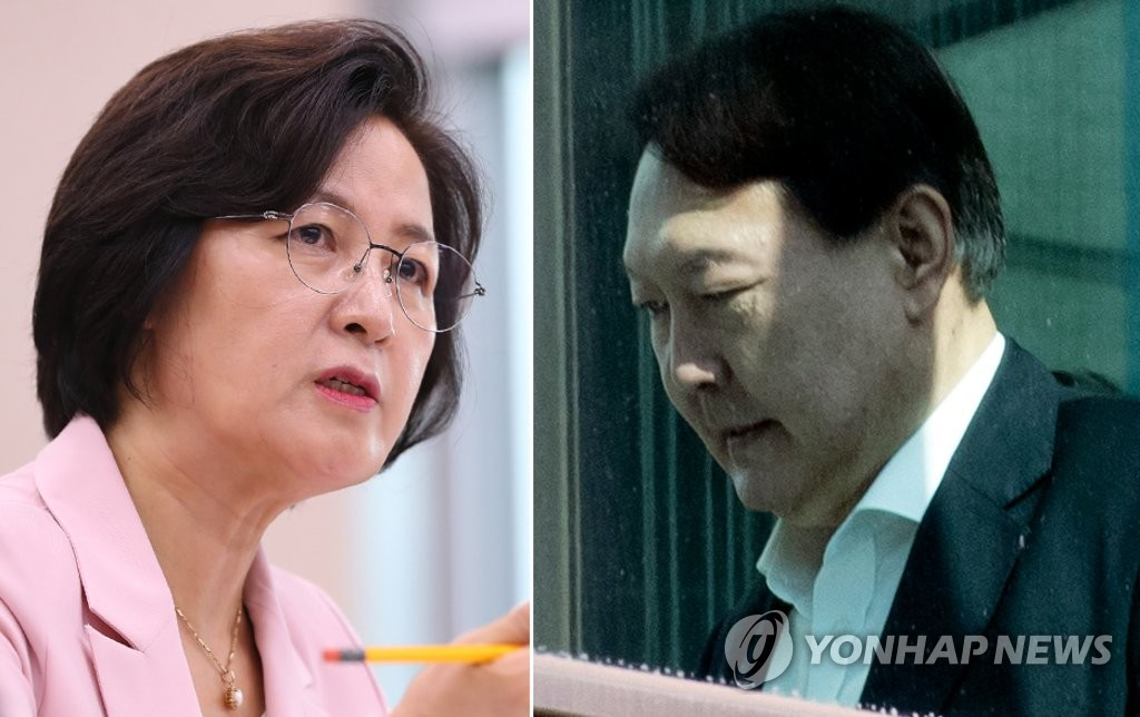 This composite photo shows Justice Minister Choo Mi-ae (L) and Prosecutor General Yoon Seok-youl. (Yonhap)