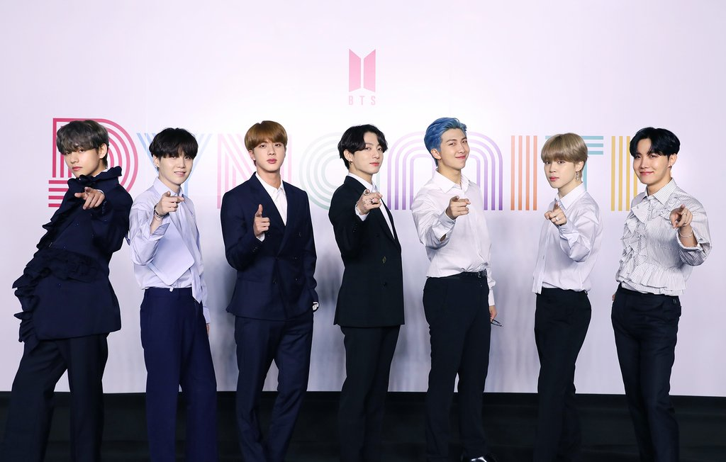 "This photo, released by Big Hit Entertainment on Aug. 21, 2020, shows global K-pop band BTS attending a virtual press conference, broadcast through YouTube, to mark the release of its new song ""Dynamite."" (PHOTO NOT FOR SALE) (Yonhap)"