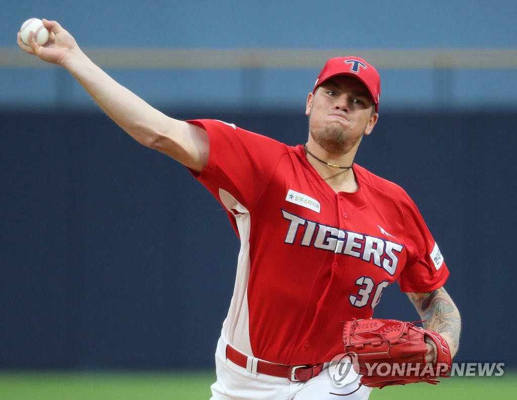 In this file photo from Sept. 13, 2020, Aaron Brooks of the Kia Tigers pitches against the NC Dinos in a Korea Baseball Organization regular season game at Changwon NC Park in Changwon, 400 kilometers southeast of Seoul. (Yonhap)