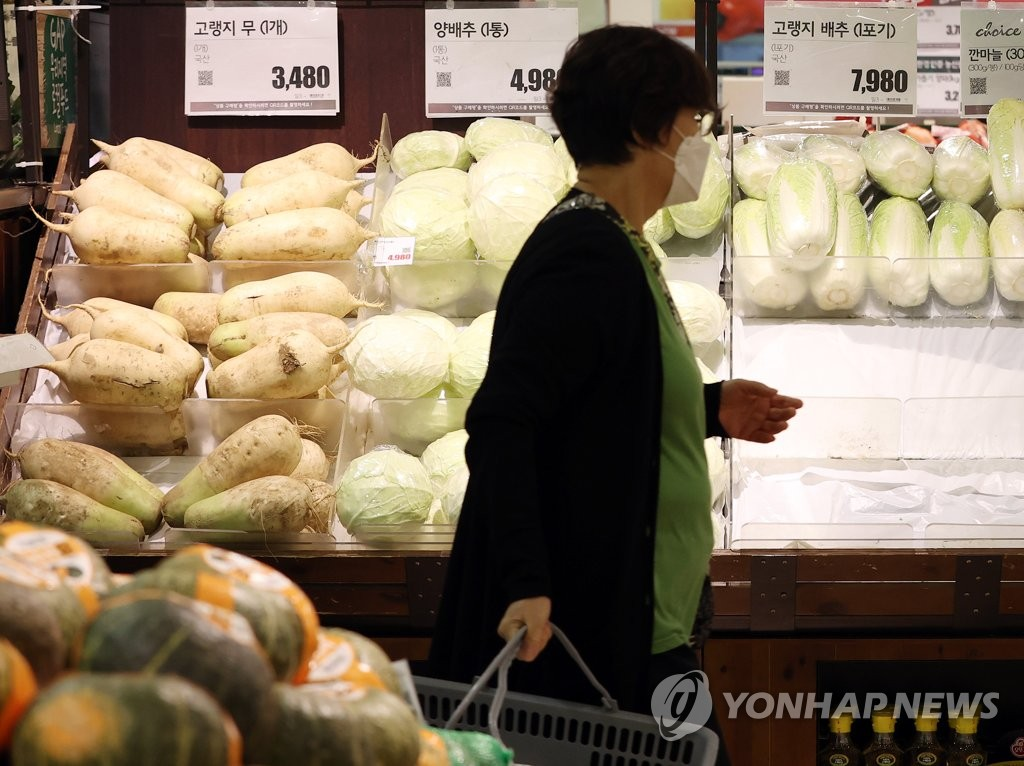 This file photo, taken Oct. 6, 2020, shows a citizen shopping for groceries at a discount store in Seoul. (Yonhap)
