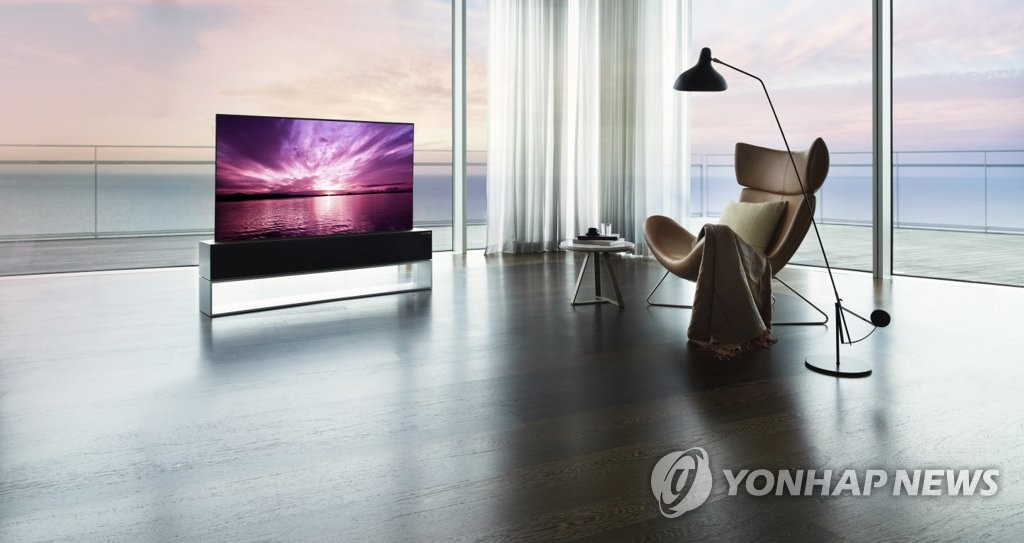 This photo provided by LG Electronics Inc. on Oct. 20, 2020, shows the company's rollable TV, LG SIGNATURE OLED R. (PHOTO NOT FOR SALE) (Yonhap)