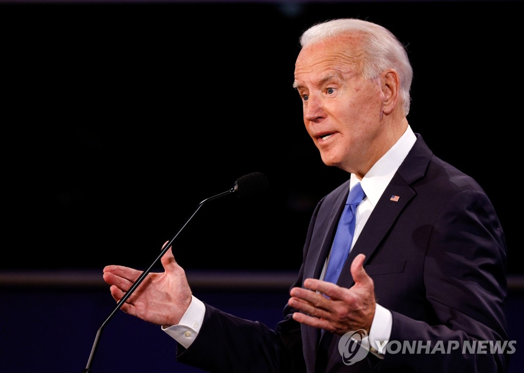 Then Democratic presidential candidate Joe Biden speaks during the final presidential debate at Belmont University, in Nashville, Tennessee, on Oct. 22, 2020, in this photo released by Reuters. (Yonhap)
