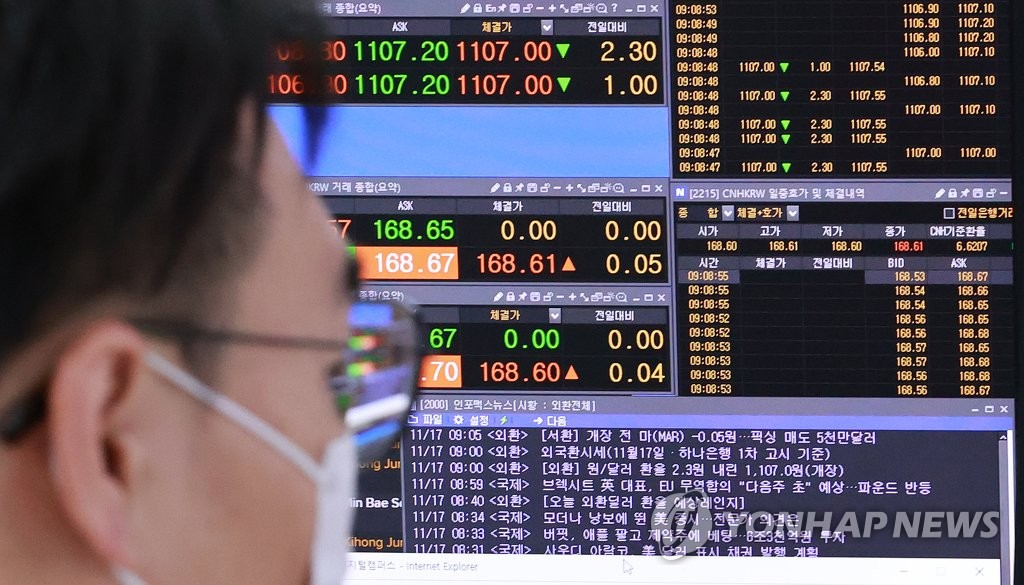 This photo, taken on Nov. 17, 2020, shows a dealer looking at a computer screen to monitor stock and currency markets at Hana Bank in central Seoul. (Yonhap)