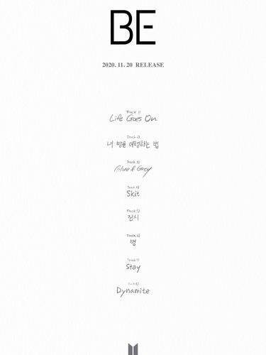 "This image, provided by Big Hit Entertainment, shows the track list for the BTS album ""BE."" (PHOTO NOT FOR SALE) (Yonhap)"