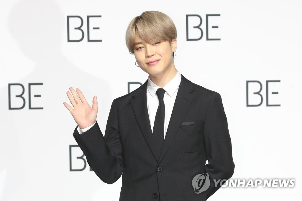 Jimin of BTS poses for the camera during a press conference held at the Dongdaemun Design Plaza in central Seoul on Nov. 20, 2020. (Yonhap)