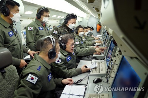 Moon inspects combat readiness on Peace Eye aircraft