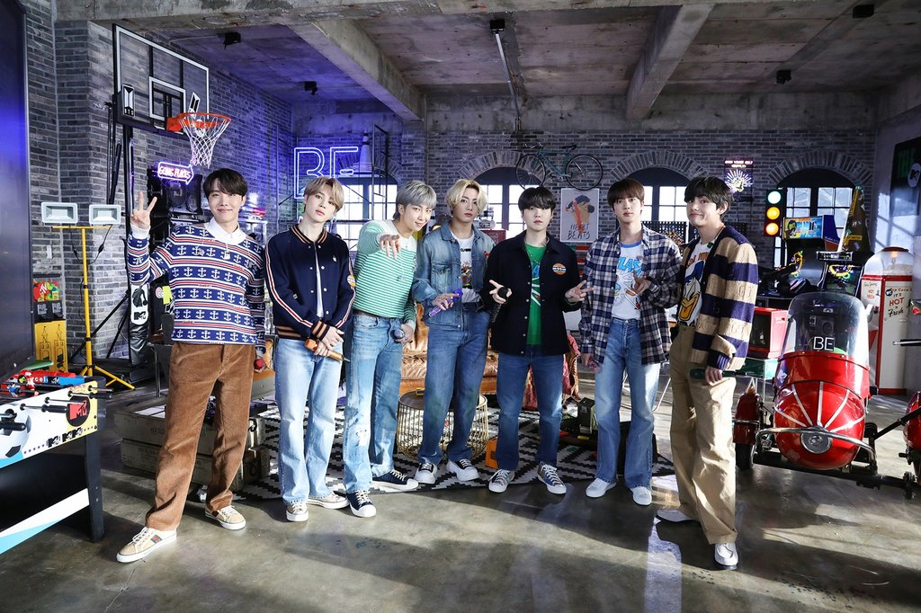 "This photo, provided by Big Hit Entertainment on Feb. 24, 2021, shows BTS on a set for ""MTV Unplugged."" (PHOTO NOT FOR SALE) (Yonhap)"